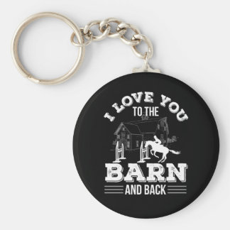 I Love You To The Barn Back Horse Riding Keychain