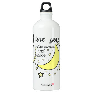 I love you to the moon and back aluminum water bottle