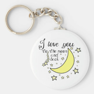 I love you to the moon and back basic round button keychain