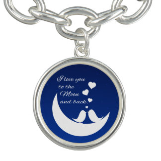 I Love You to the Moon and Back Blue/White Birds Bracelet