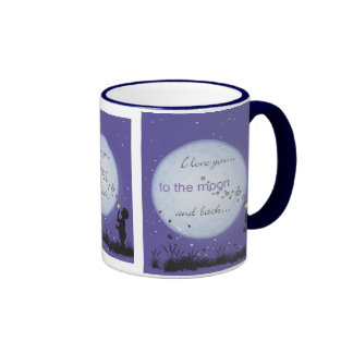 I Love You to the Moon and Back-boy blowing bubble Ringer Coffee Mug
