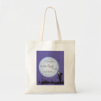 I Love You to the Moon and Back-boy blowing bubble Tote Bag