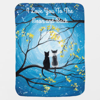 I Love You To The Moon and Back Cat Baby Blanket