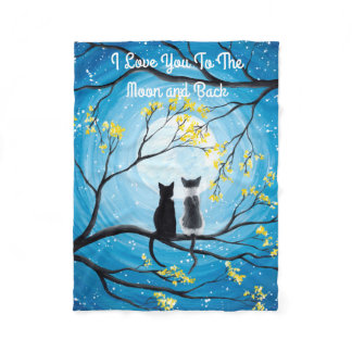 I Love You To The Moon and Back Cat Fleece Blanket