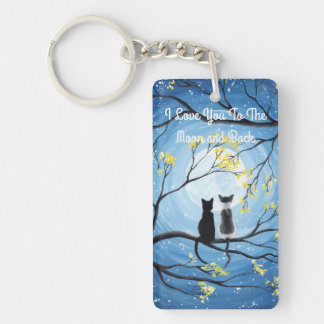 I Love You To The Moon and Back Cat Keychain