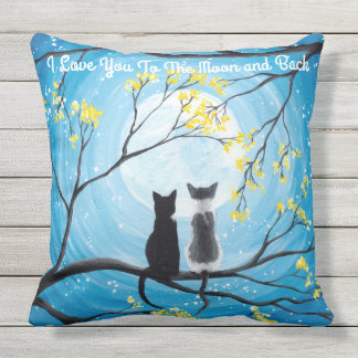 I Love You To The Moon and Back Cat Outdoor Pillow