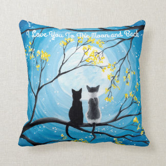 I Love You To The Moon and Back Cat Throw Pillow