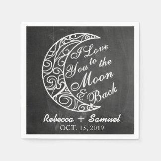 """I Love You To The Moon and Back"" Custom Wedding Napkin"