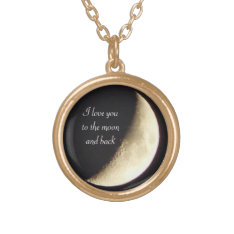 I love you to the moon and back gold necklace at Zazzle