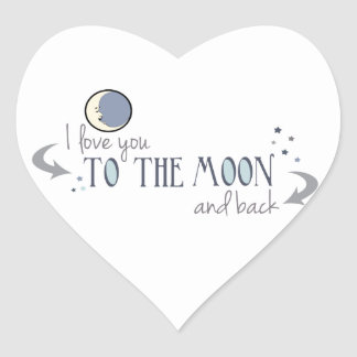 I Love You to the Moon and Back Heart Sticker