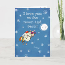 I love you to the moon and back holiday card