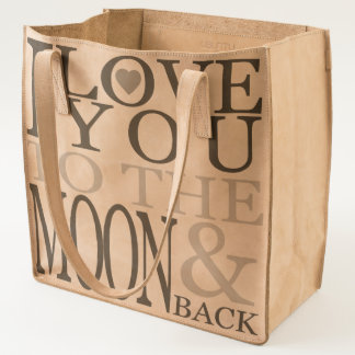 I love you to the moon and back - leather tote