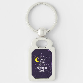 I Love You to the Moon and Back - Man in the Moon Silver-Colored Rectangular Metal Keychain