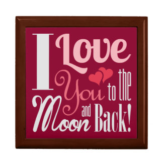 I Love You to the Moon and Back - Mixed Typography Jewelry Box