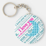 I Love You to the Moon and Back Mothers Day Gifts Basic Round Button Keychain