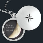 """I love you to the moon and back necklace/locket sterling silver necklace<br><div class=""""desc"""">Beautiful necklace with a picture of the moon that I photographed.</div>"""