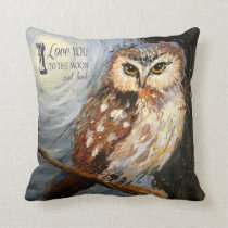 I Love You to the Moon and Back Owl Pillow