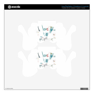I love you to the moon and back PS3 controller skin