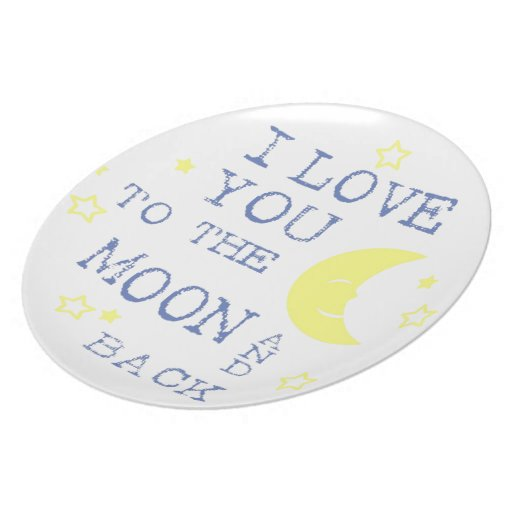 I Love You to the Moon and Back Quote - Blue Dinner Plate