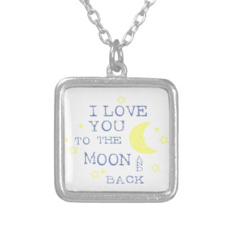 I Love You to the Moon and Back Quote - Blue Silver Plated Necklace