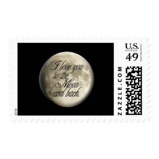 I Love You to the Moon and Back Realistic Lunar Postage