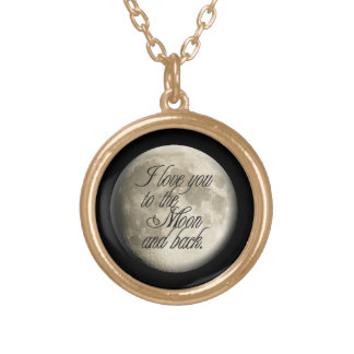 I Love You to the Moon and Back Realistic Lunar Round Pendant Necklace