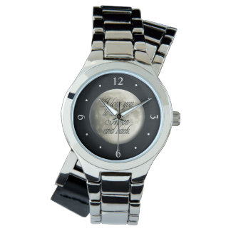 I Love You to the Moon and Back Realistic Lunar Wrist Watches