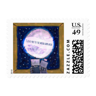 I Love You To The Moon And Back Robot Postage