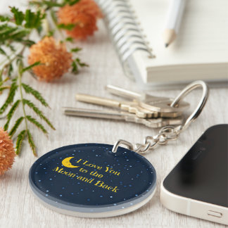 I Love You to the Moon and Back Single-Sided Round Acrylic Keychain