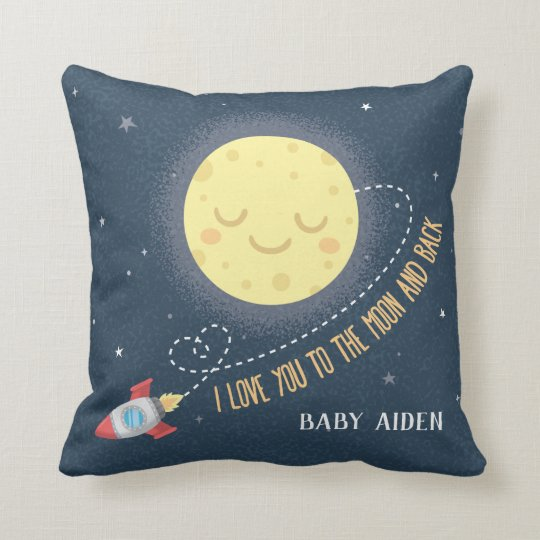 I Love You To The Moon And Back E Baby Nursery Throw Pillow Zazzle