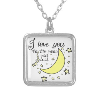 I love you to the moon and back square pendant necklace