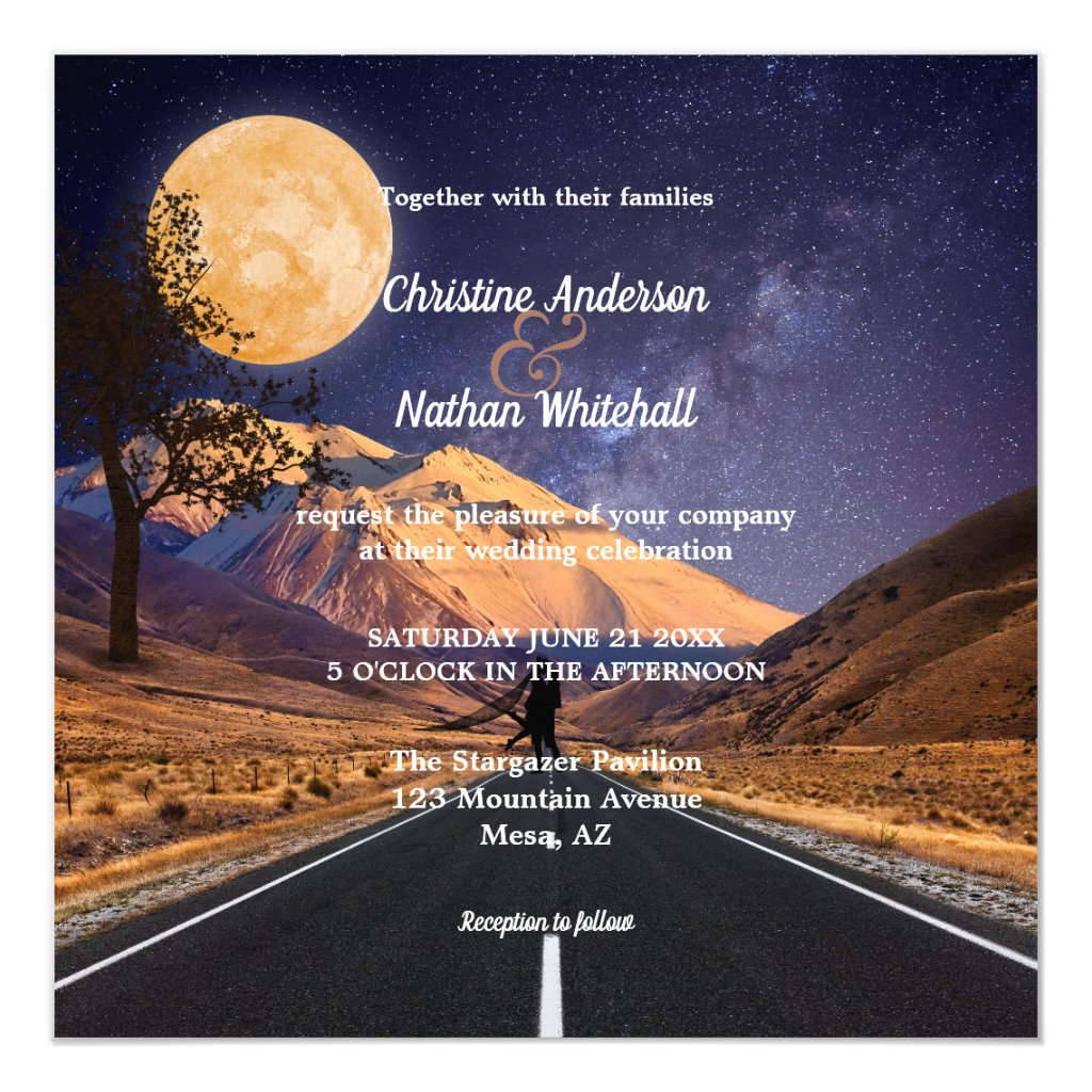 I love you to the moon and back Stargazer Wedding Invitation
