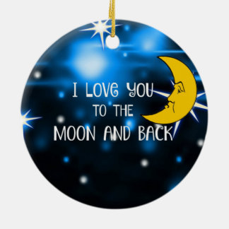 I Love You to the Moon and Back--Starry Sky Double-Sided Ceramic Round Christmas Ornament