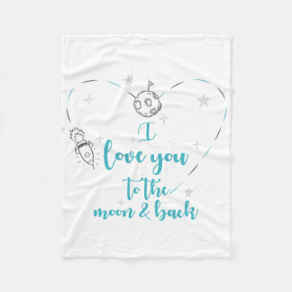I love you to the moon and back (Turquoise) Fleece Blanket