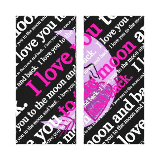I love you to the moon and back typography canvas print