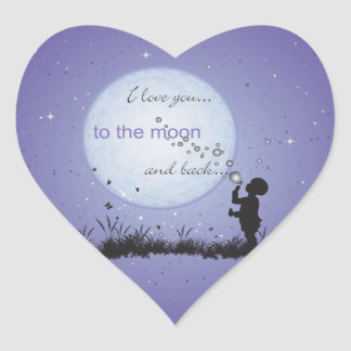 I Love You to the Moon and Back-Unique Gifts Heart Sticker