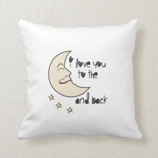 I love you to the moon and back white pillow