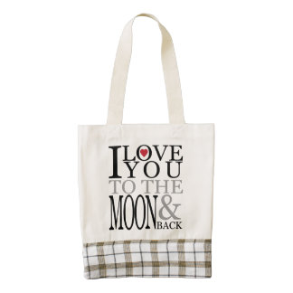 I love you to the moon and back zazzle HEART tote bag