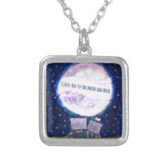 I Love You To The Moon & Back Robots Silver Plated Necklace at Zazzle