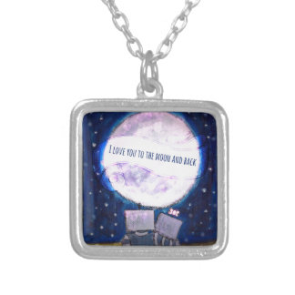 I Love You To The Moon & Back Robots Square Pendant Necklace