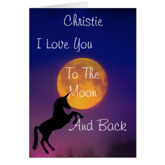 I Love You To The Moon Unicorn *personalized* Card