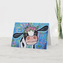 """""""I love you to the mooo-n & back"""" Cute Cow Card"""