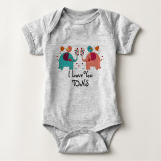 I LOVE YOU TONS Baby clothes - ELEPHANTS LOVE Baby Bodysuit