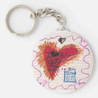 I Love You Too primary Basic Round Button Keychain