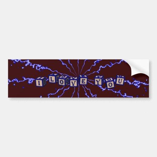 I love you toy blocks in blue car bumper sticker