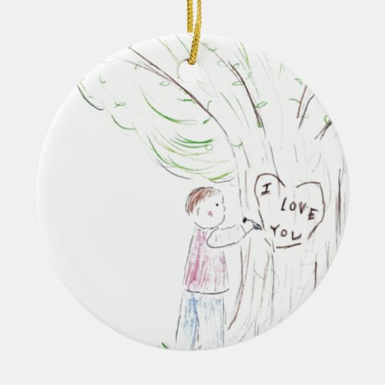 I Love You Tree Ceramic Ornament
