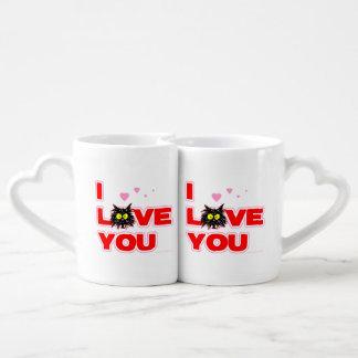 """I Love You"" Tuff Kitty Cat Lover Gift Coffee Mug Set"