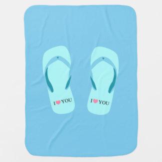 I Love You Turquoise Flip Flops Blue Baby Blanket