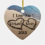 I Love You! Two Hearts In Sand Holiday Ornament