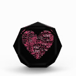 I Love You Typography Heart Valentine's Day Gift Acrylic Award